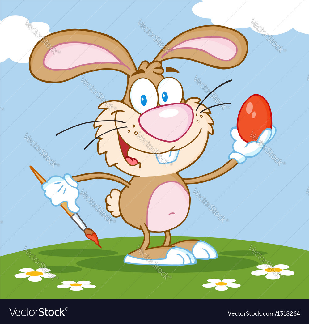 Brown easter bunny painting an egg outdoors vector | Price: 1 Credit (USD $1)