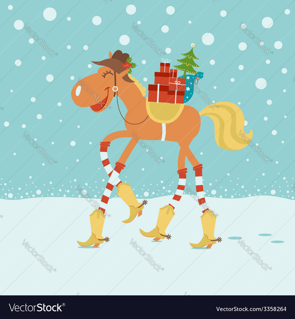 Christmas card with horse in cowboy hat and boots vector | Price: 1 Credit (USD $1)