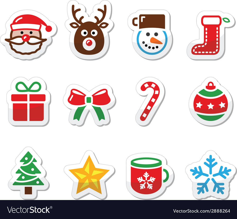 Christmas colorful icons set - santa present tre vector | Price: 1 Credit (USD $1)