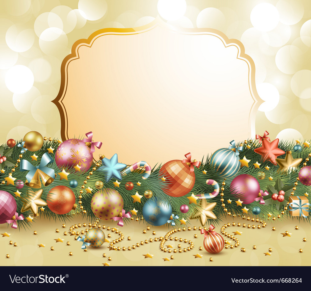 Christmas vintage garland with baubles vector | Price: 3 Credit (USD $3)