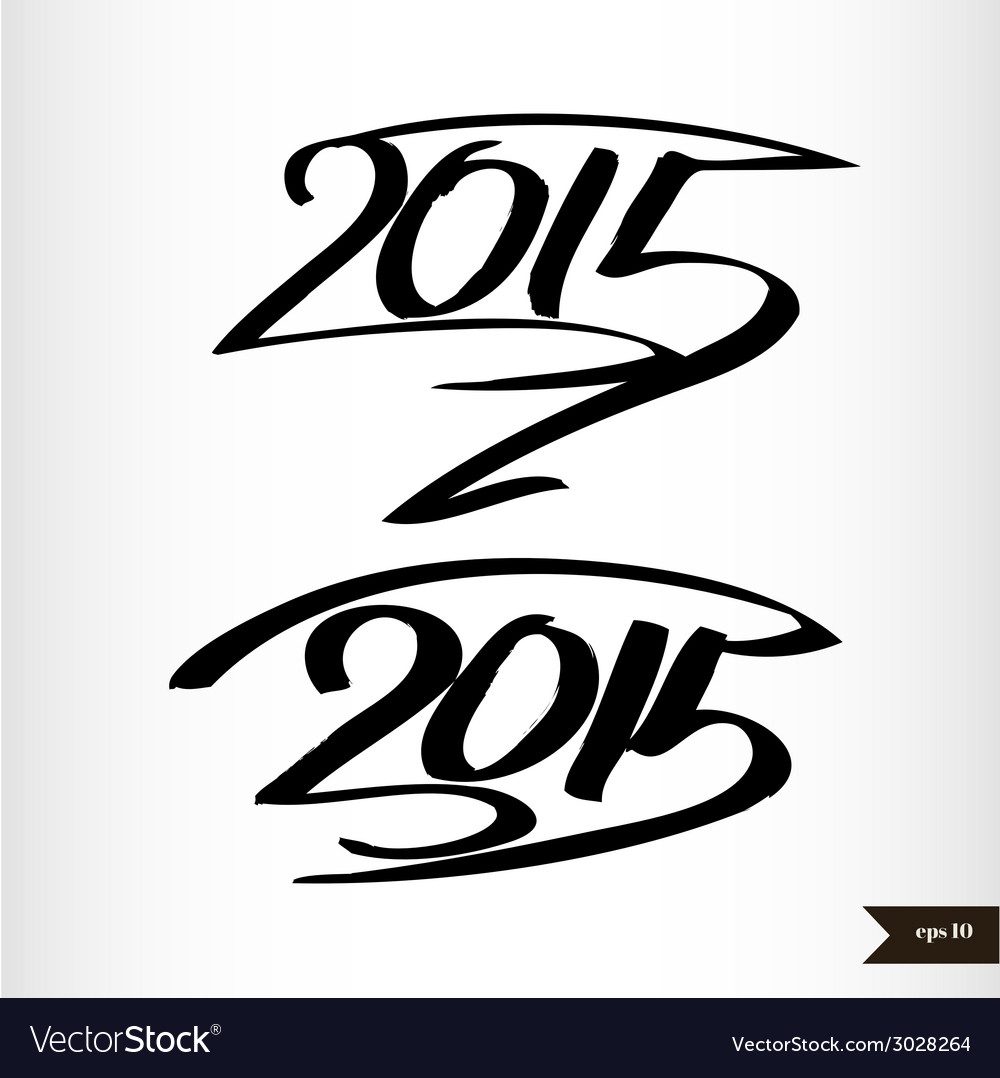 Happy new year handwritten calligraphic watercolor vector | Price: 1 Credit (USD $1)