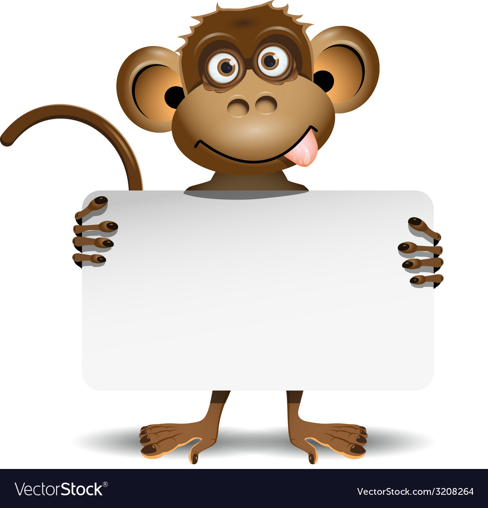 Monkey with a white background vector | Price: 1 Credit (USD $1)