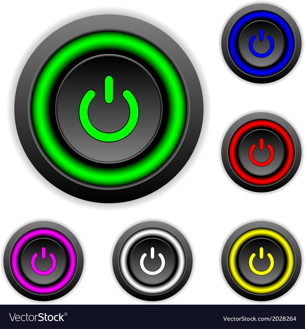 Power buttons set vector | Price: 1 Credit (USD $1)