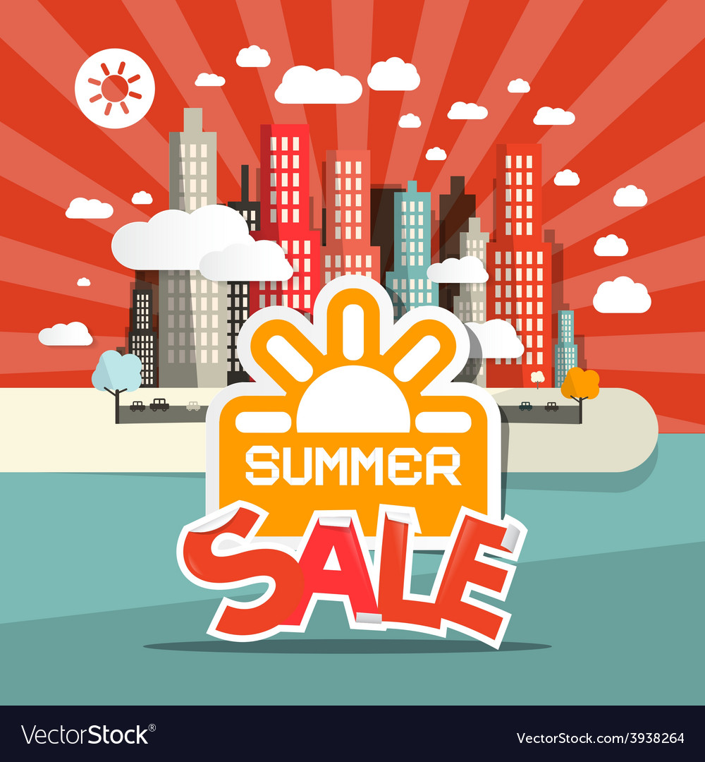 Retro summer sale of abstract town - city wi vector | Price: 1 Credit (USD $1)