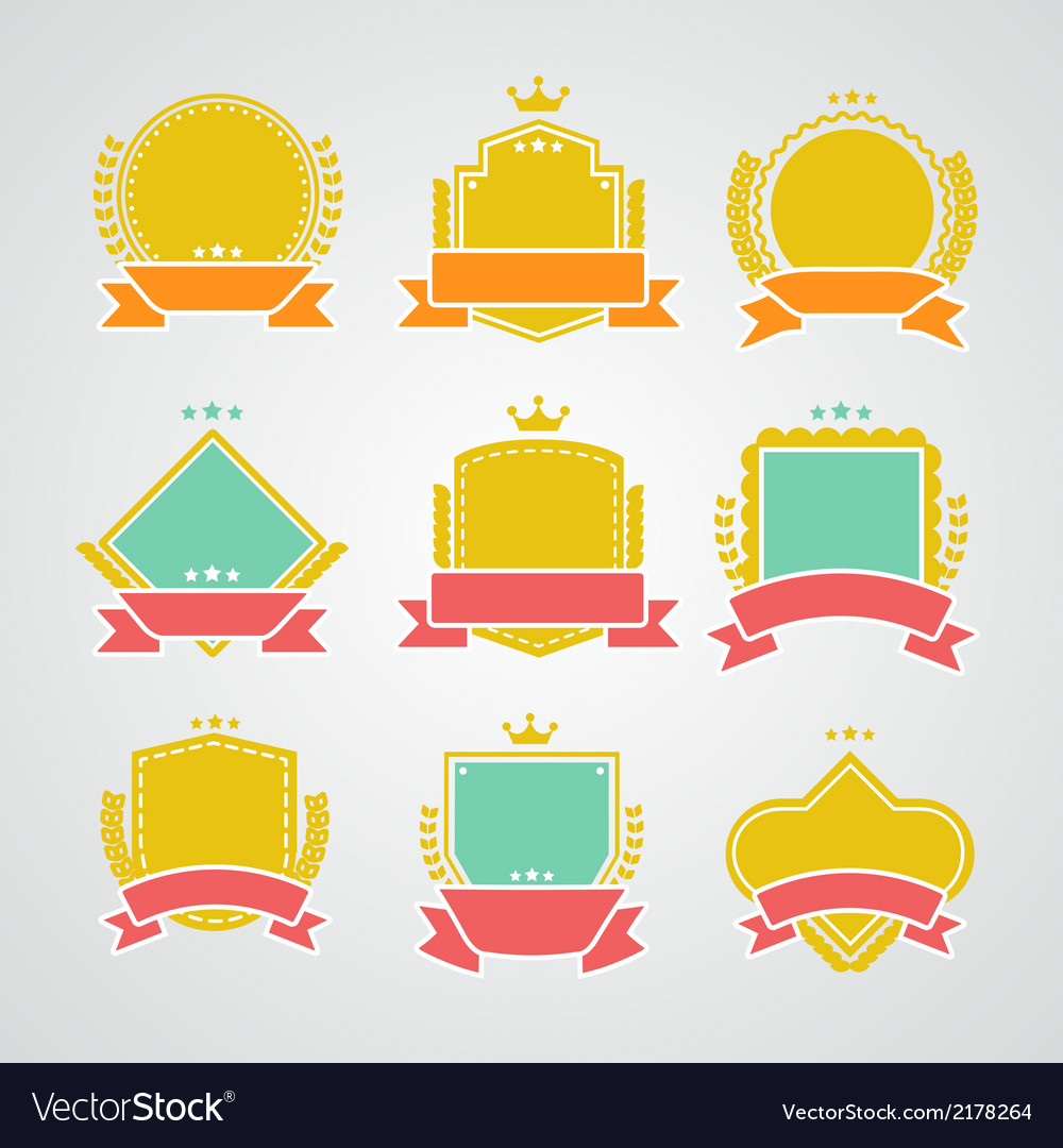 Set of flat badges and ribbons vector | Price: 1 Credit (USD $1)