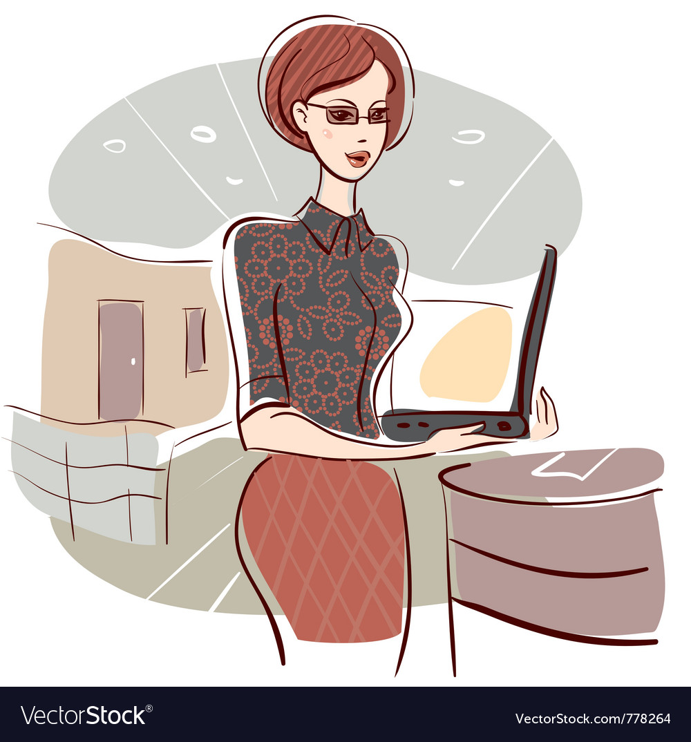 Woman in office vector | Price: 1 Credit (USD $1)