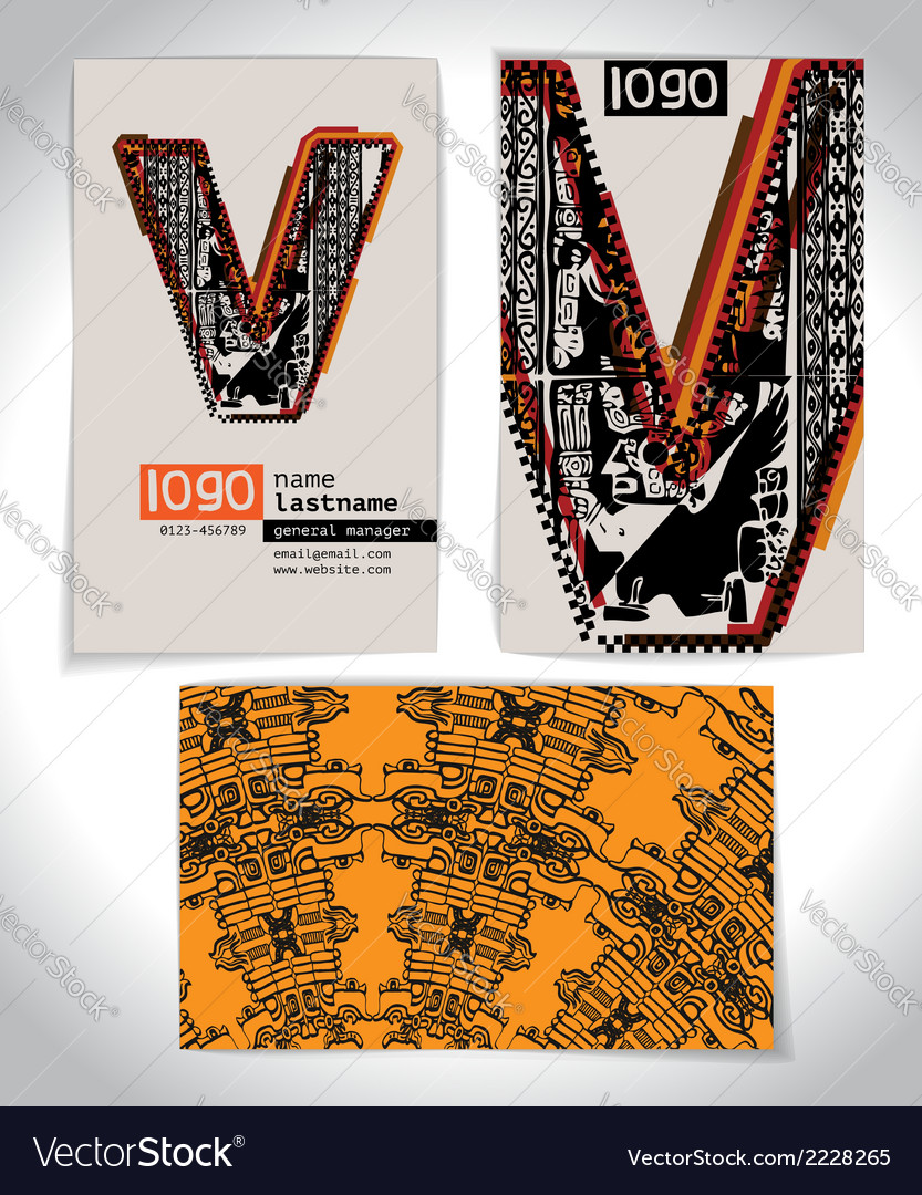 Ancient business card design letter v vector | Price: 1 Credit (USD $1)