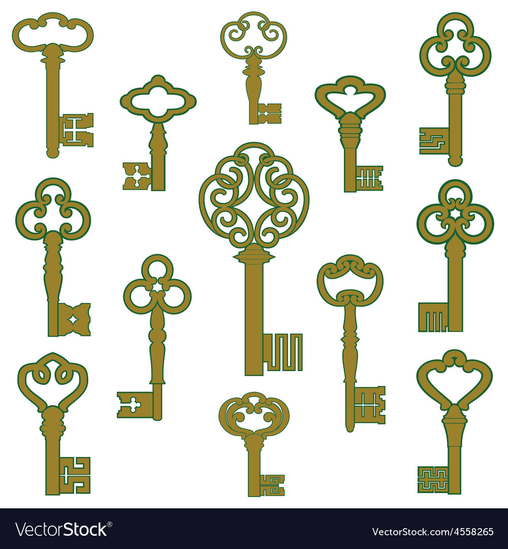 Antique bronze keys with patina decor vector | Price: 1 Credit (USD $1)