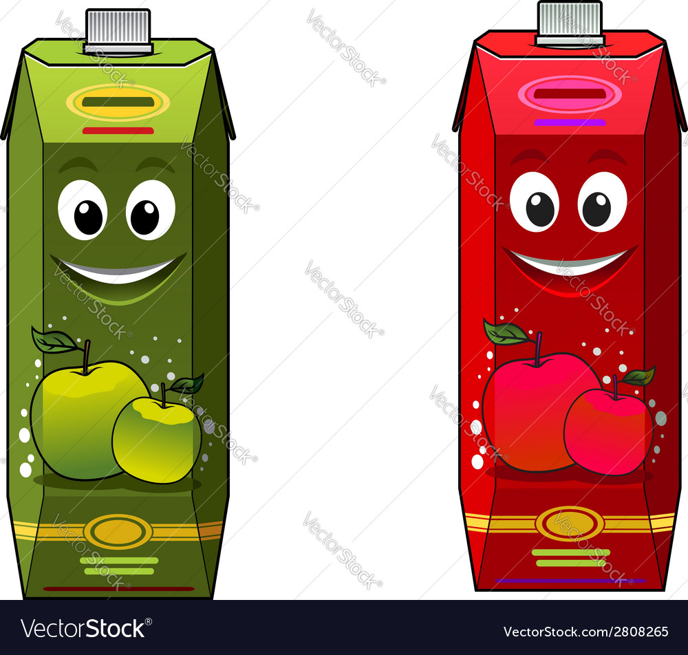 Cartoon apple juice packages vector | Price: 1 Credit (USD $1)