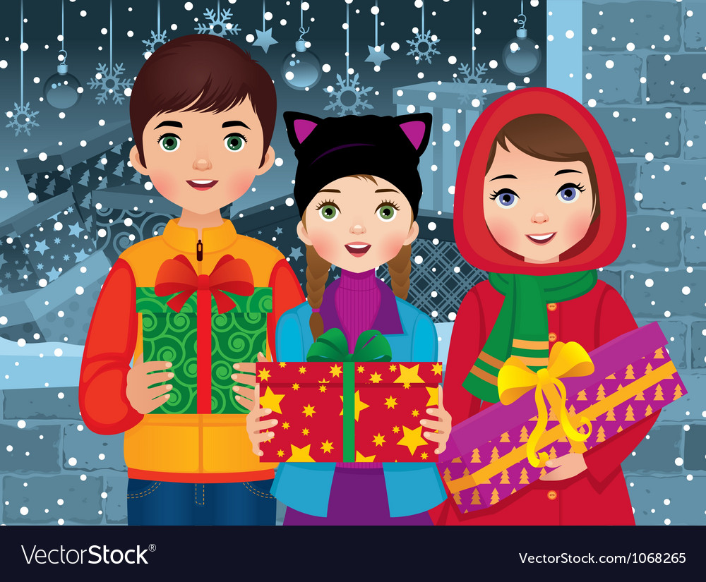 Children enjoyed a christmas vector | Price: 5 Credit (USD $5)