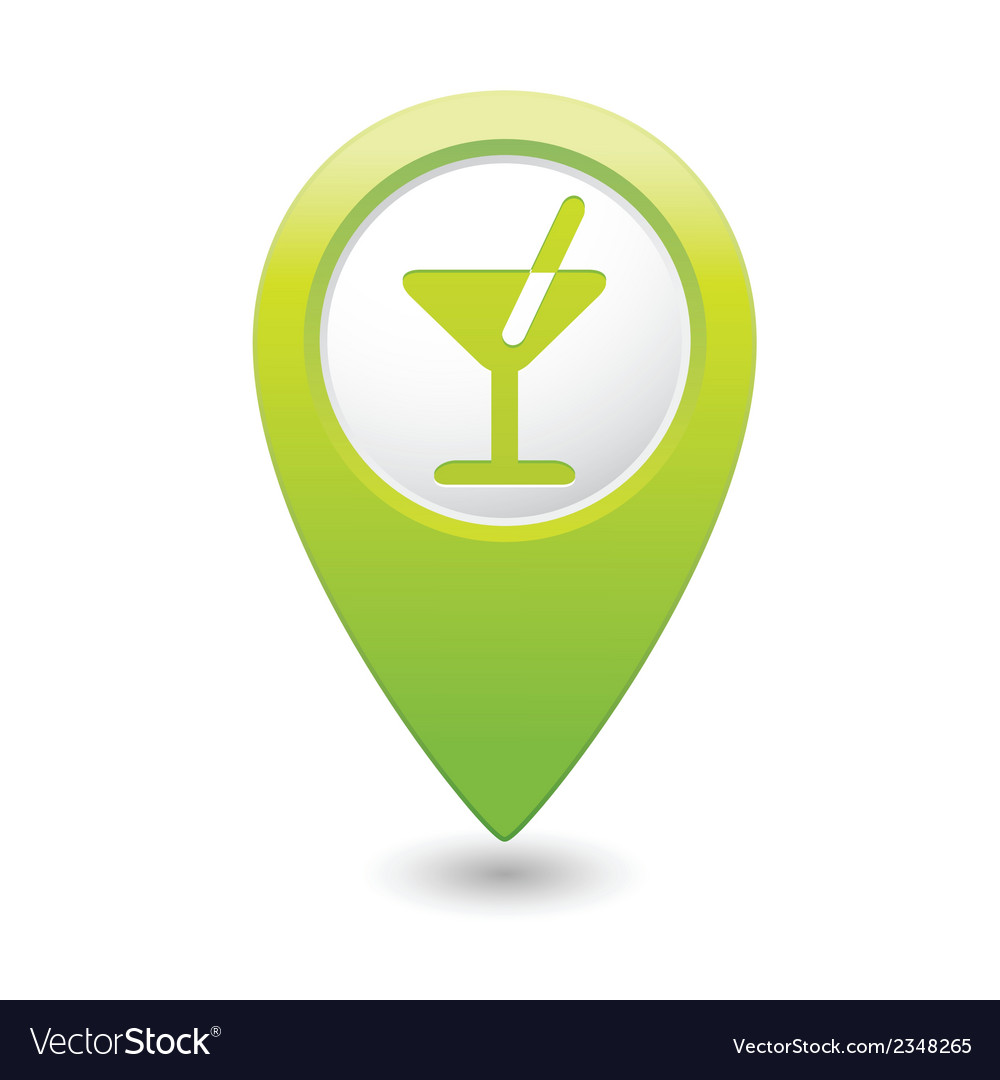 Cocktail icon green map pointer vector | Price: 1 Credit (USD $1)