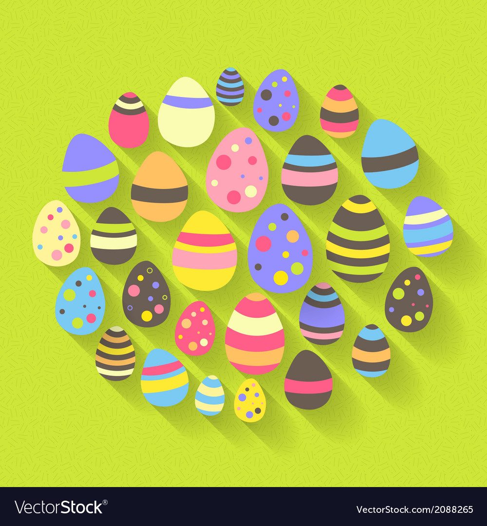 Easter eggs icon set on a green vector | Price: 1 Credit (USD $1)