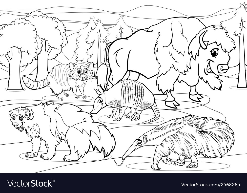 Mammals animals cartoon coloring page vector | Price: 1 Credit (USD $1)