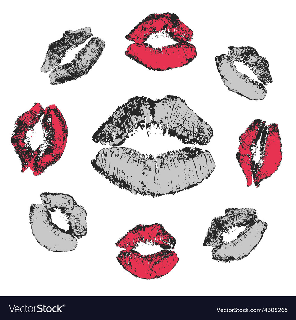Set of grunge kisses vector | Price: 1 Credit (USD $1)