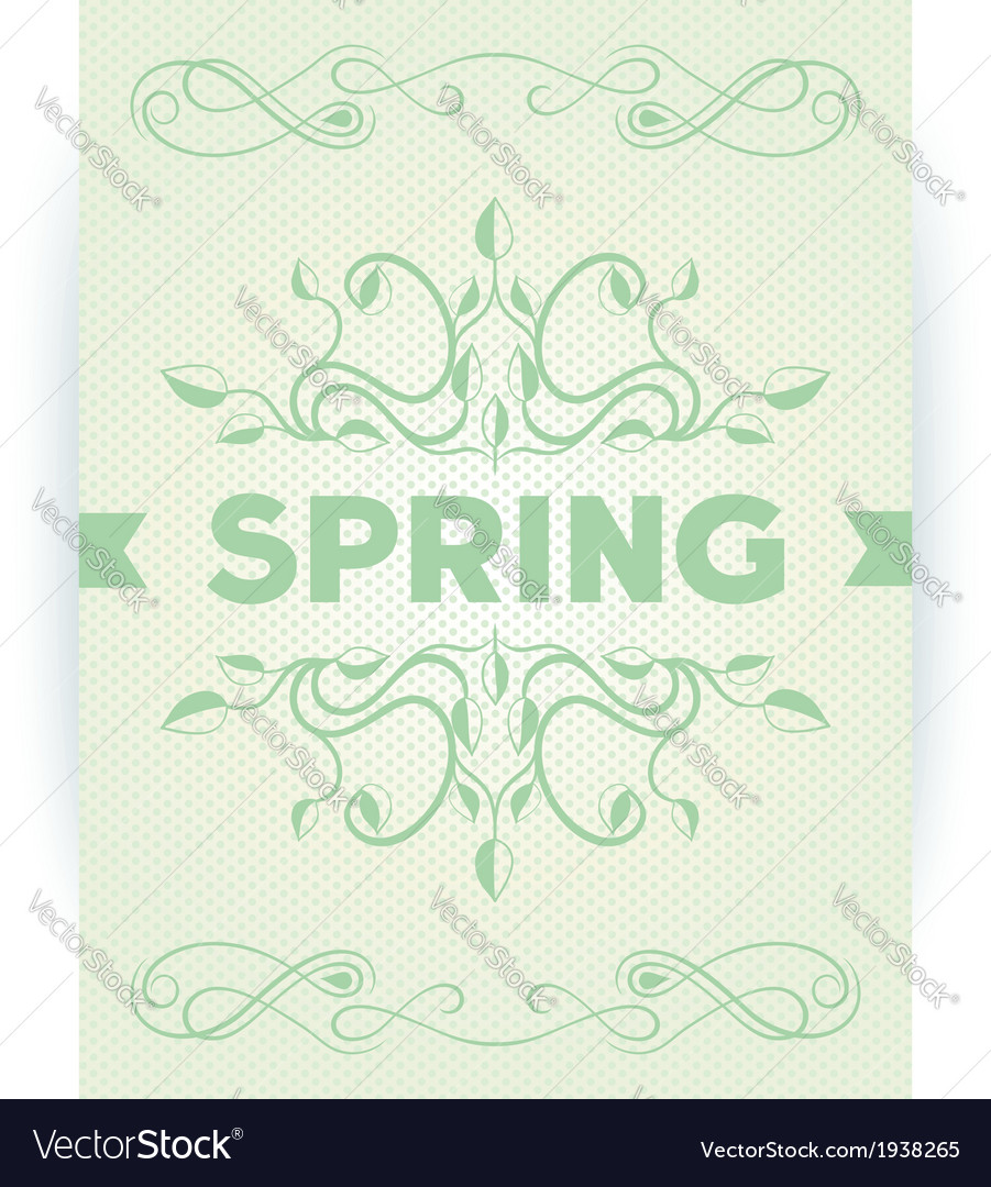 Spring word with leaves swirly vector | Price: 1 Credit (USD $1)