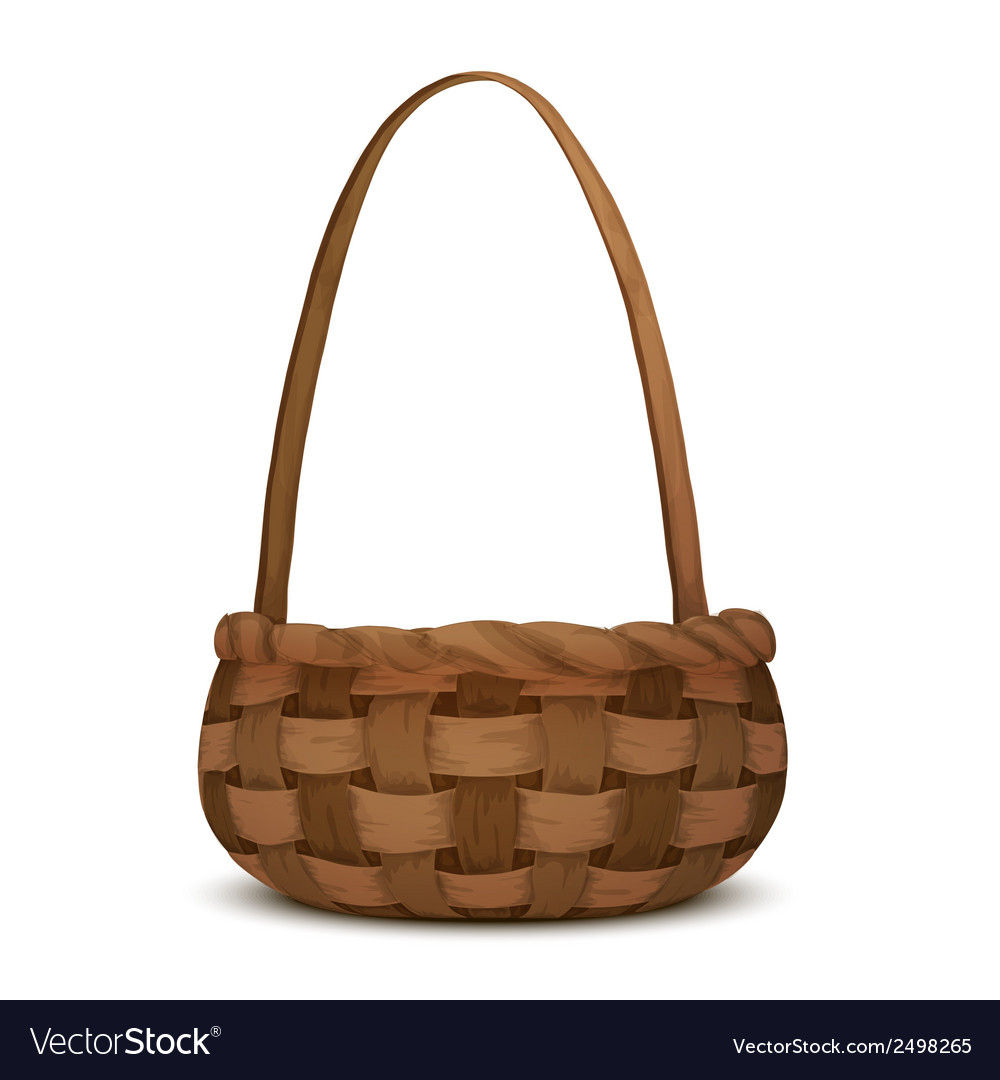 Wicker basket isolated vector | Price: 1 Credit (USD $1)
