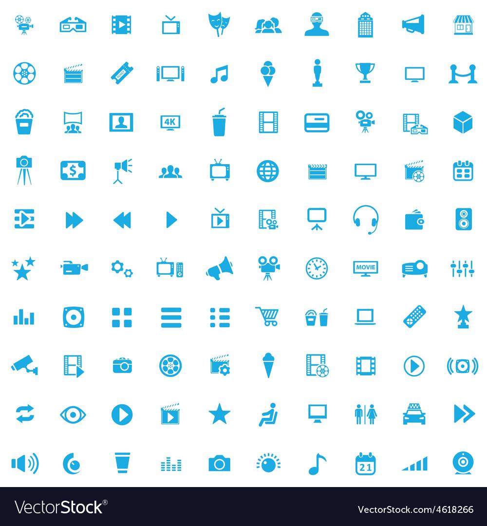 100 cinema icons vector