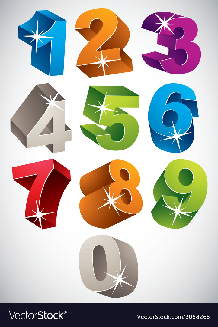 3d colorful bold numbers set vector | Price: 1 Credit (USD $1)