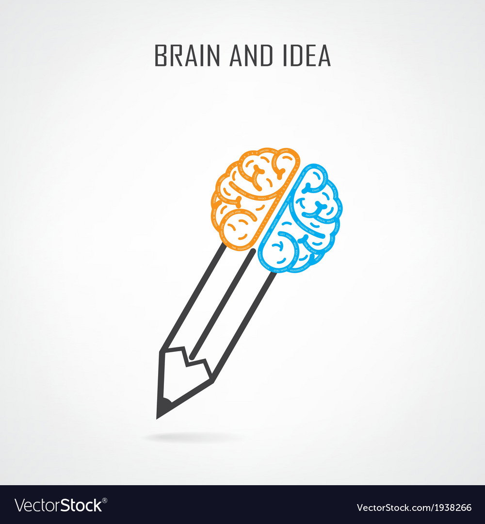 Creative right and left brain and pencil symbol vector | Price: 1 Credit (USD $1)