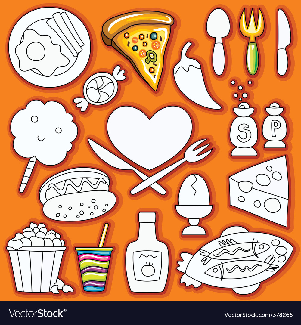 Doodle set of food vector | Price: 3 Credit (USD $3)