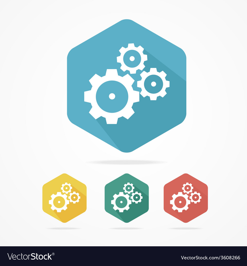 Gear icon set flat design style vector | Price: 1 Credit (USD $1)