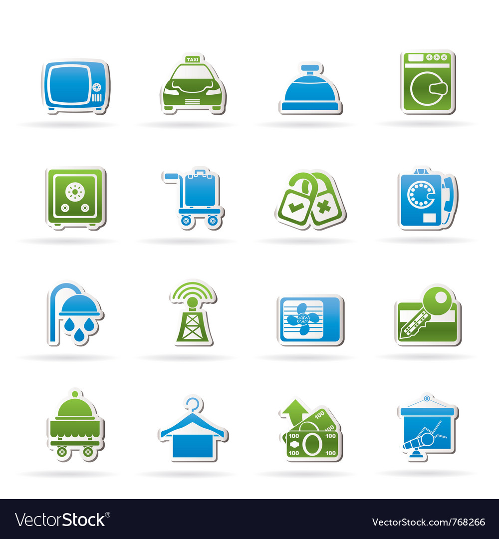 Hotel and motel room facilities icons vector | Price: 1 Credit (USD $1)