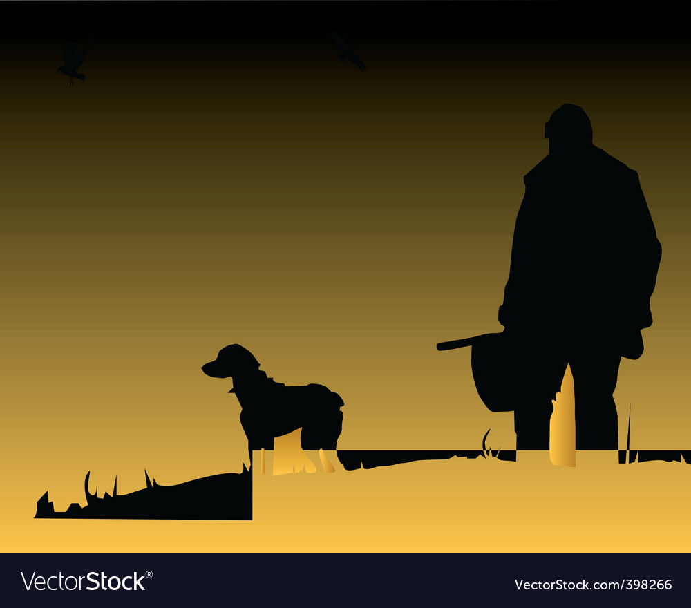 Hunter and dog vector | Price: 1 Credit (USD $1)