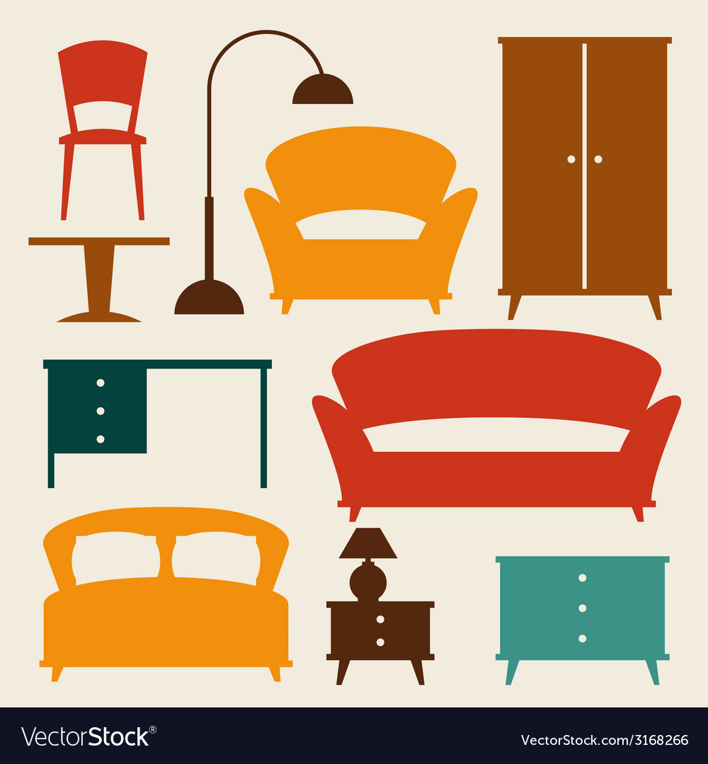 Interior icon set with furniture in retro style vector | Price: 1 Credit (USD $1)