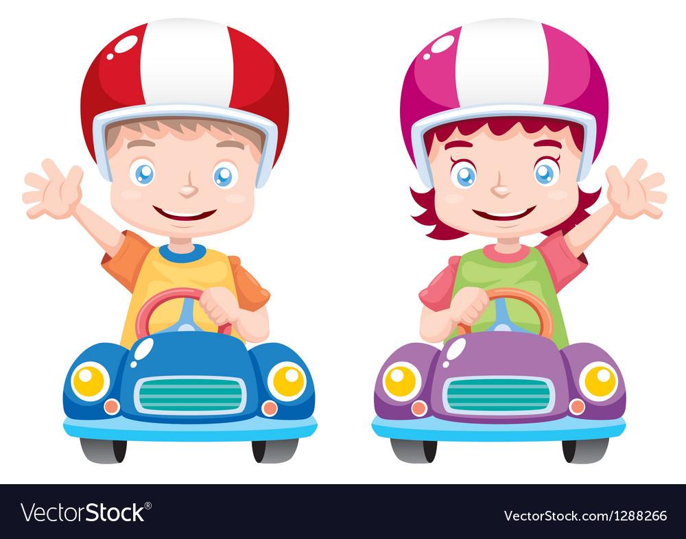 Kids on car vector