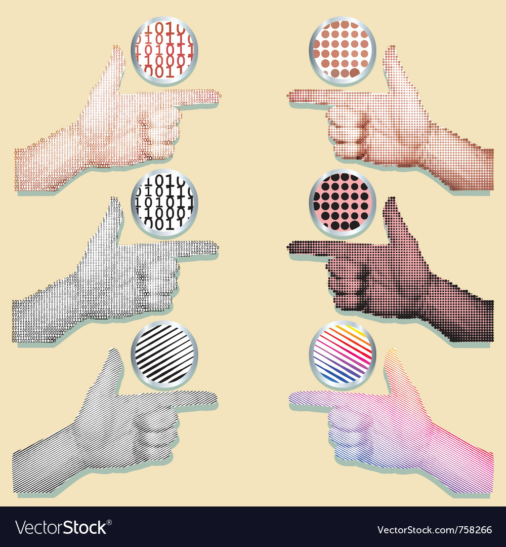 Pointing hands set vector | Price: 1 Credit (USD $1)