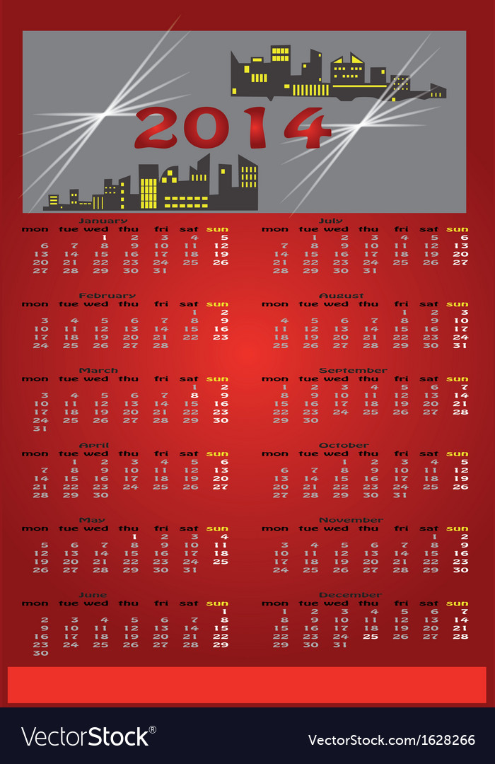Red calendar 2014 vector | Price: 1 Credit (USD $1)