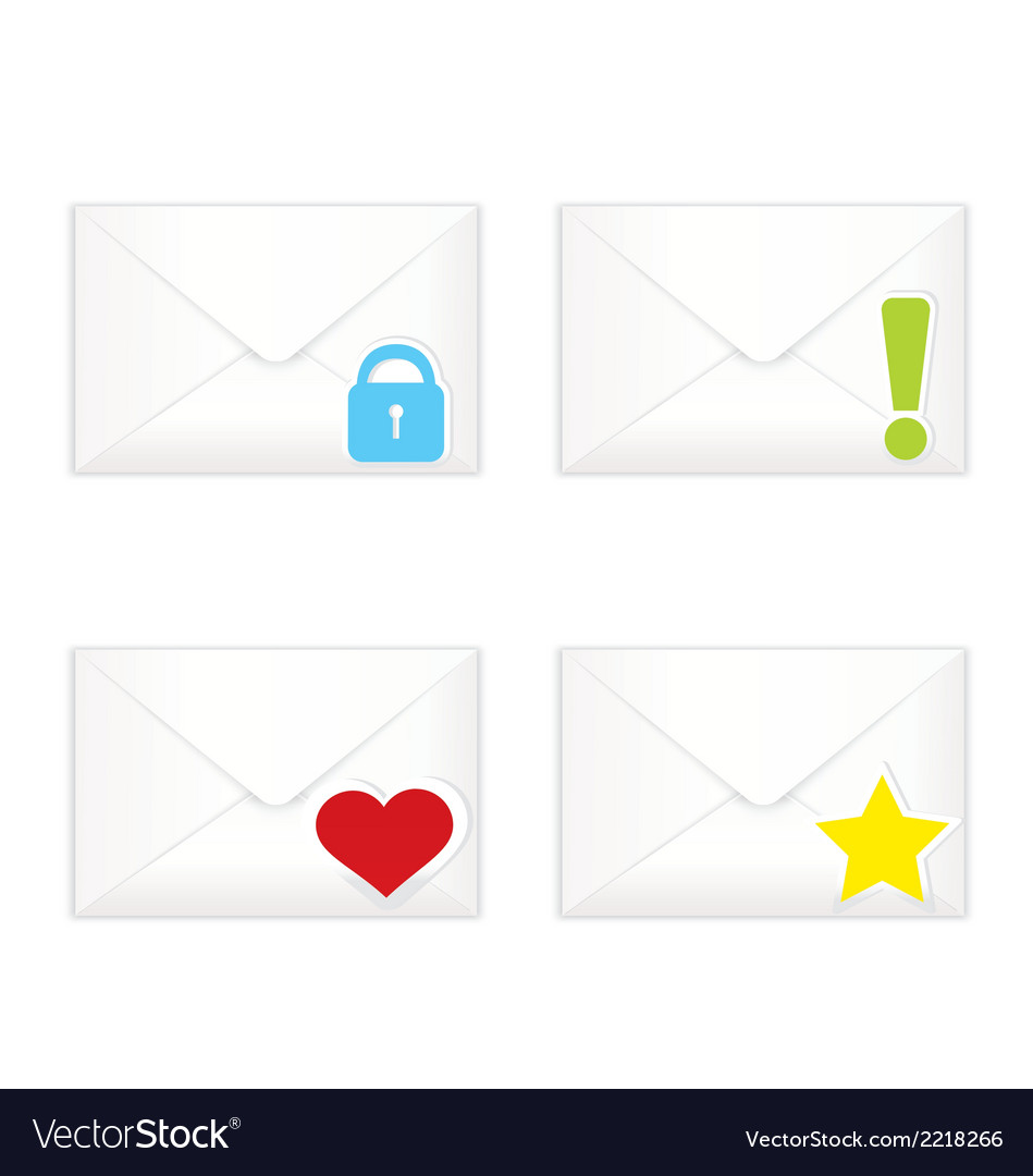 White closed envelopes with marks icon set vector | Price: 1 Credit (USD $1)