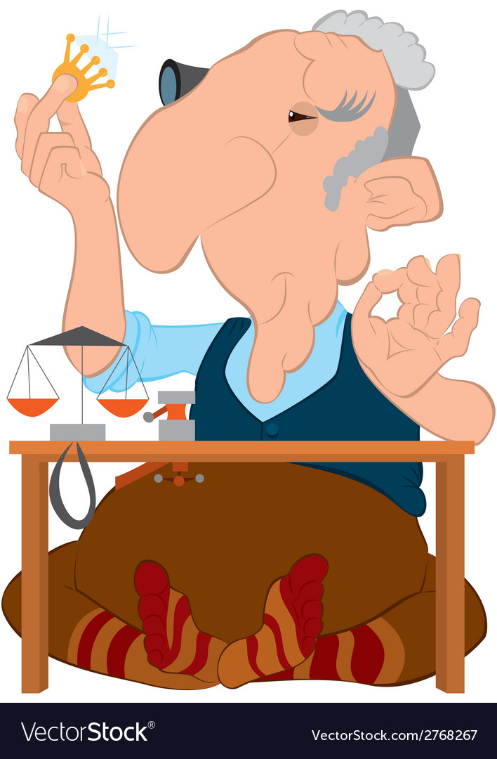 Cartoon old jeweler looking on the diamond in his vector   Price: 1 Credit (USD $1)