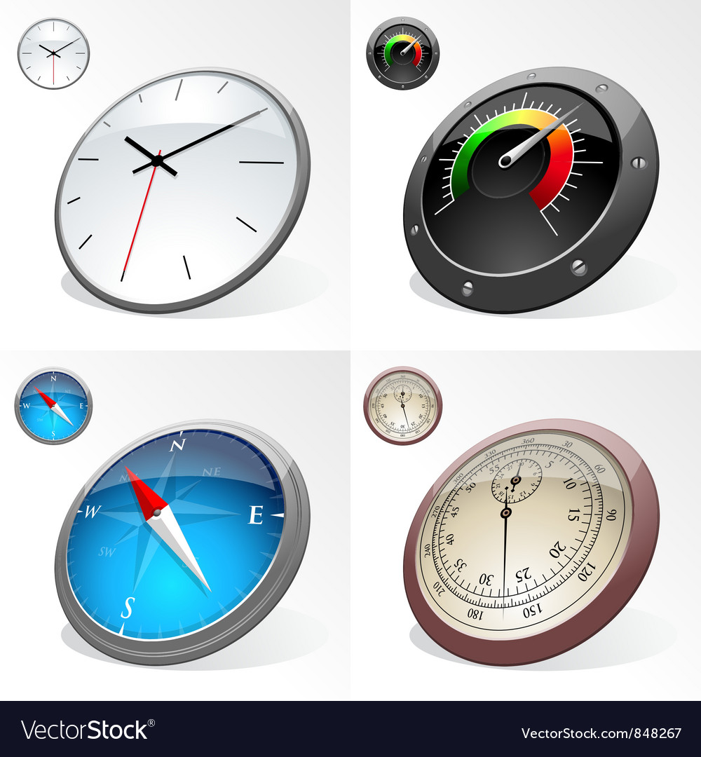Clocks and compass vector | Price: 3 Credit (USD $3)