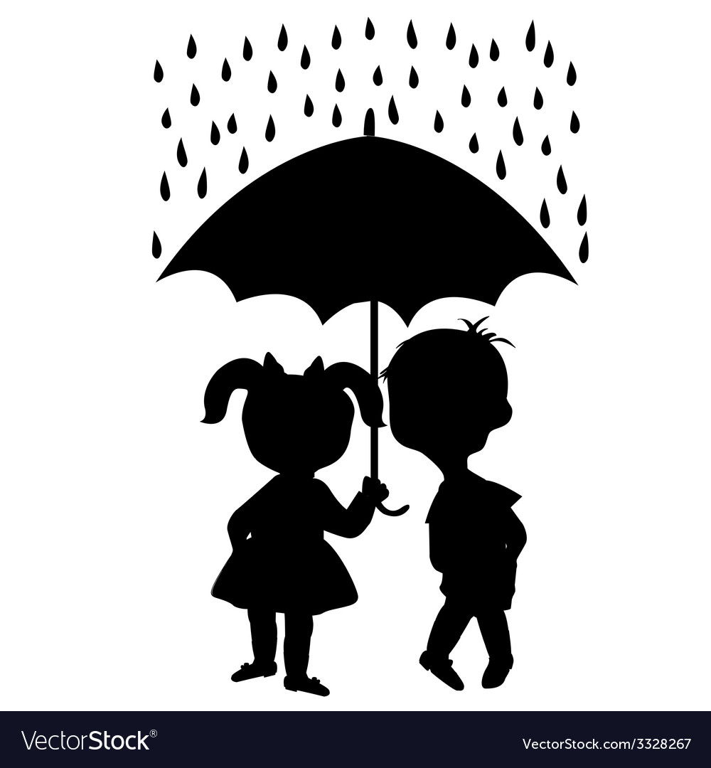 Pair of children staying under an umbrella vector | Price: 1 Credit (USD $1)