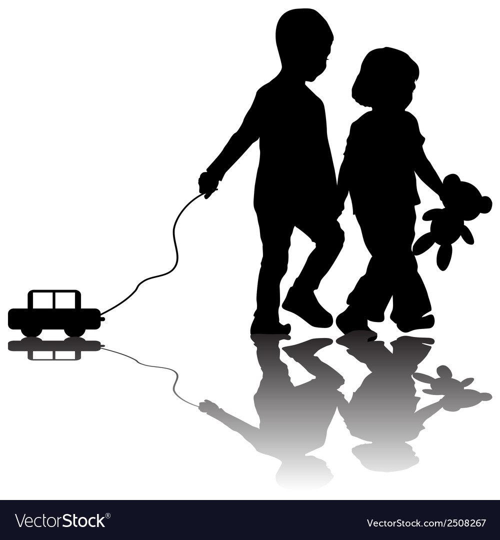 Pair of children with toy car vector | Price: 1 Credit (USD $1)