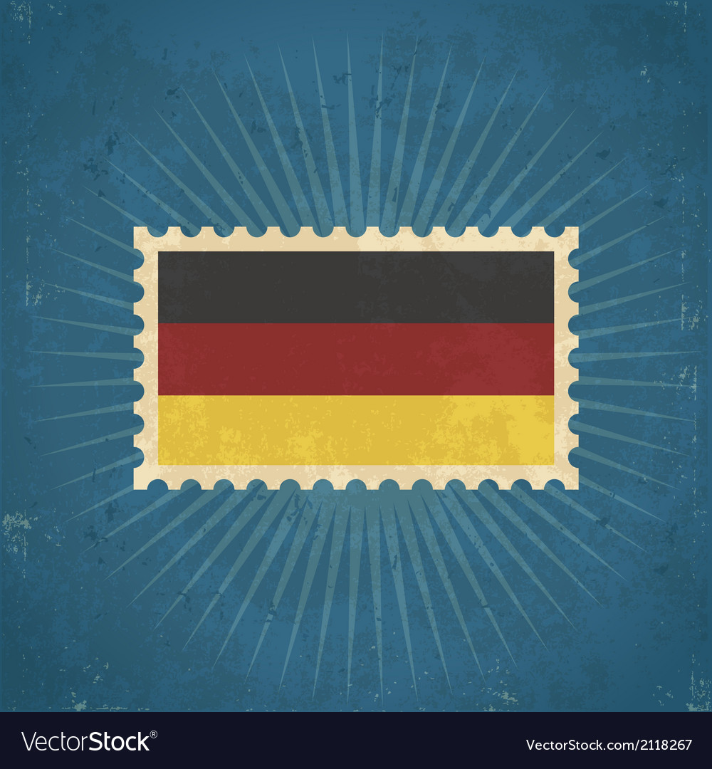 Retro german flag postage stamp vector | Price: 1 Credit (USD $1)
