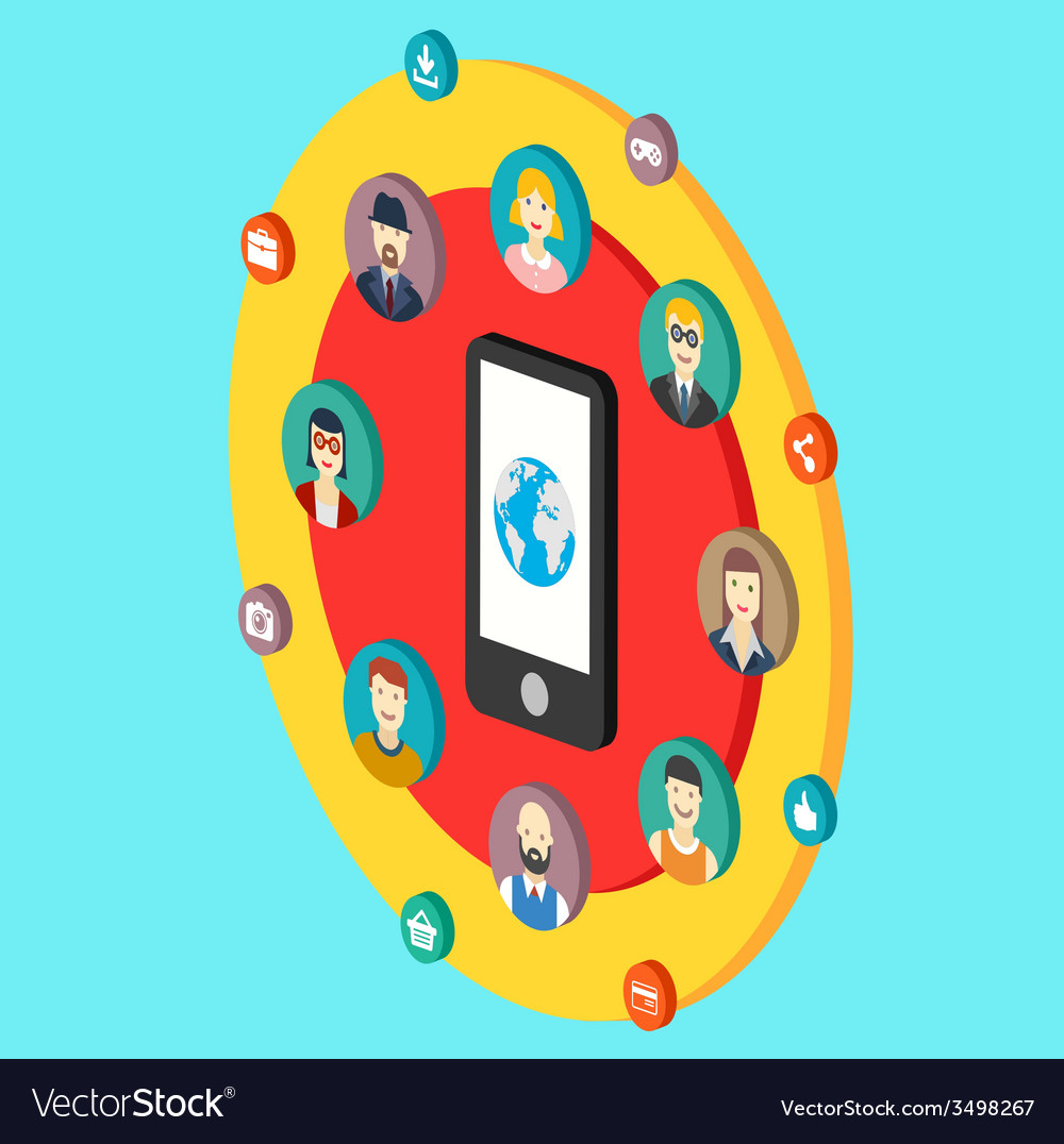 Social network with avatars earth mobile phone vector | Price: 1 Credit (USD $1)
