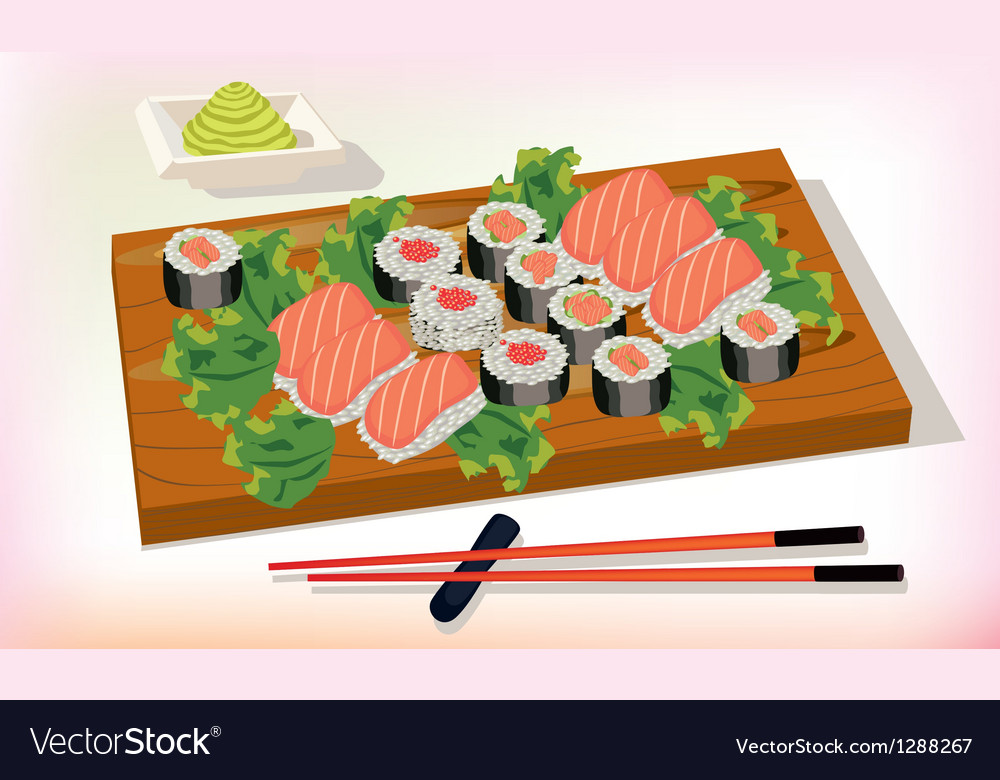 Sushi meal taditsionnaya east china japan korea vector | Price: 3 Credit (USD $3)