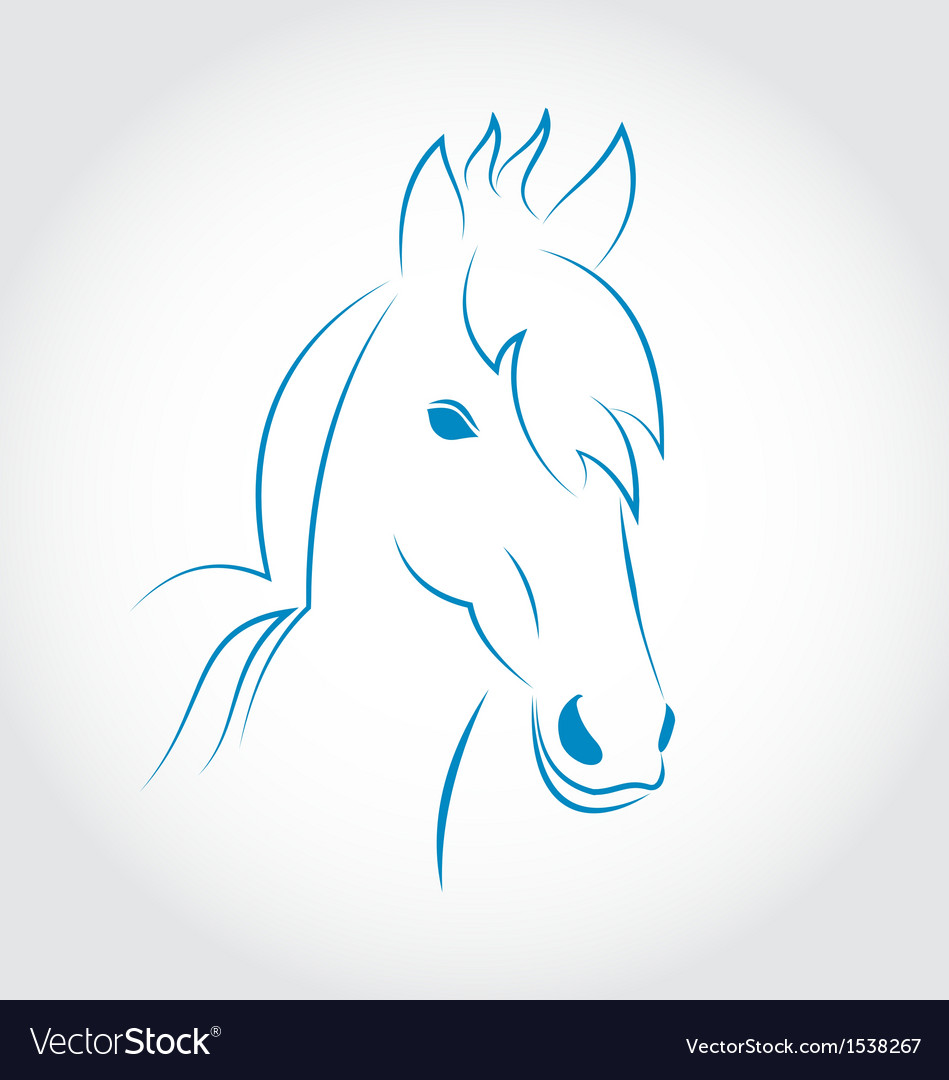 Symbol outline head horse isolated on white vector | Price: 1 Credit (USD $1)