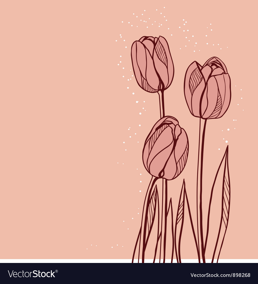 Abstract floral with tulips on pink background vector | Price: 1 Credit (USD $1)