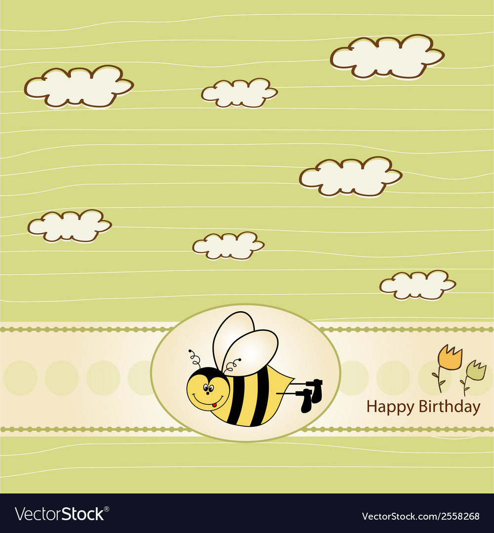 Birthday greeting card with bee vector | Price: 1 Credit (USD $1)