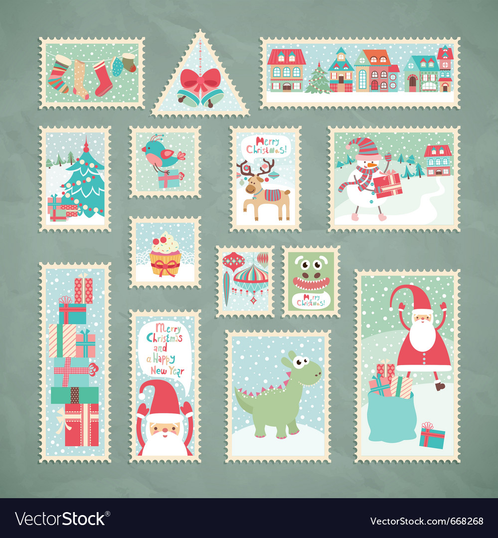 Christmas postage stamps vector | Price: 3 Credit (USD $3)
