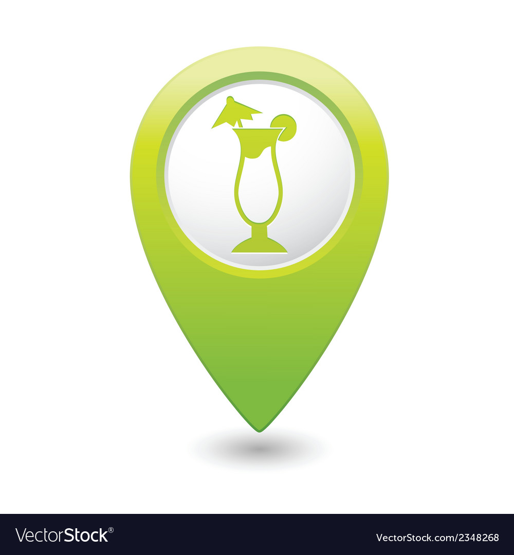 Coctail icon on map pointer green vector | Price: 1 Credit (USD $1)