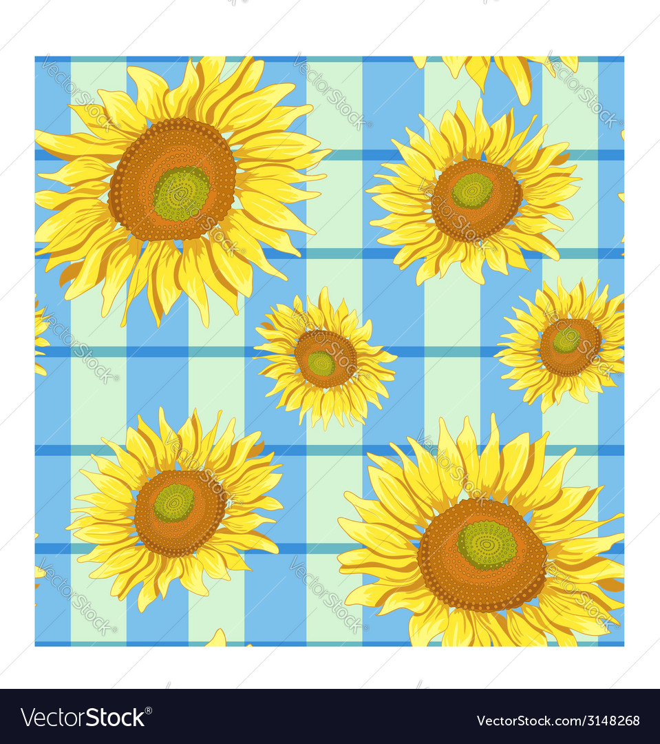 Floral seamless background with sunflowers eps10 vector | Price: 1 Credit (USD $1)