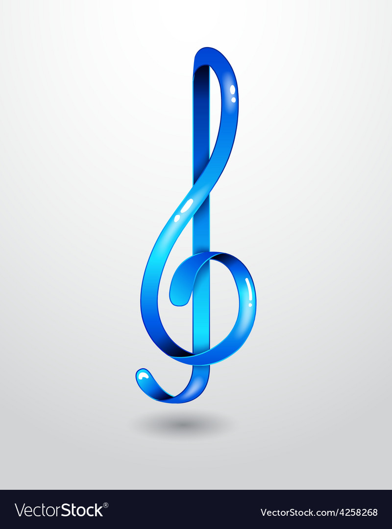 Glass blue treble clef vector | Price: 1 Credit (USD $1)