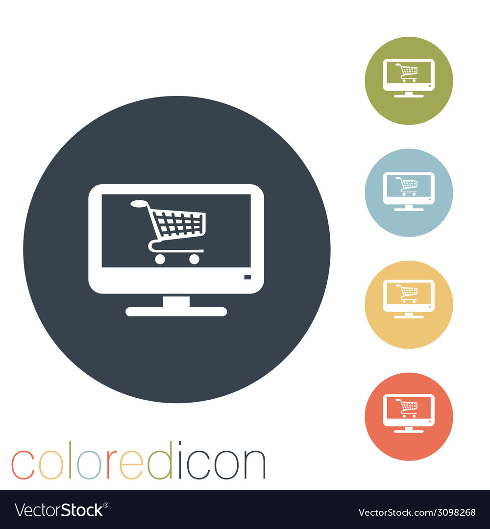 Monitor with symbol shopping cart vector | Price: 1 Credit (USD $1)
