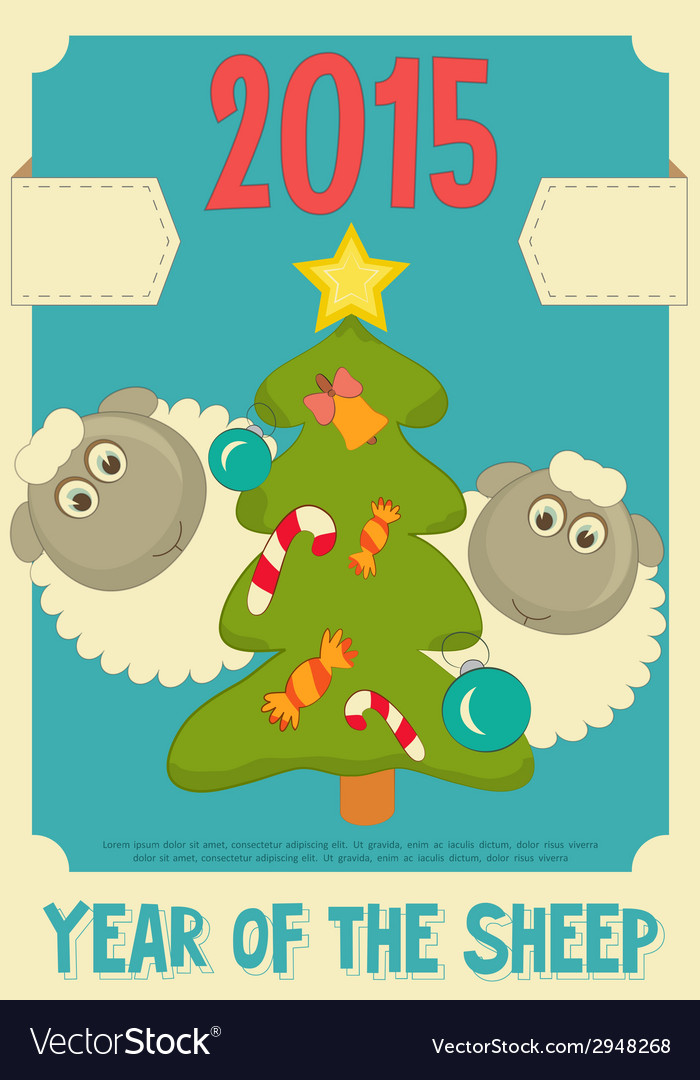 New year card with cute cartoon sheep vector   Price: 1 Credit (USD $1)