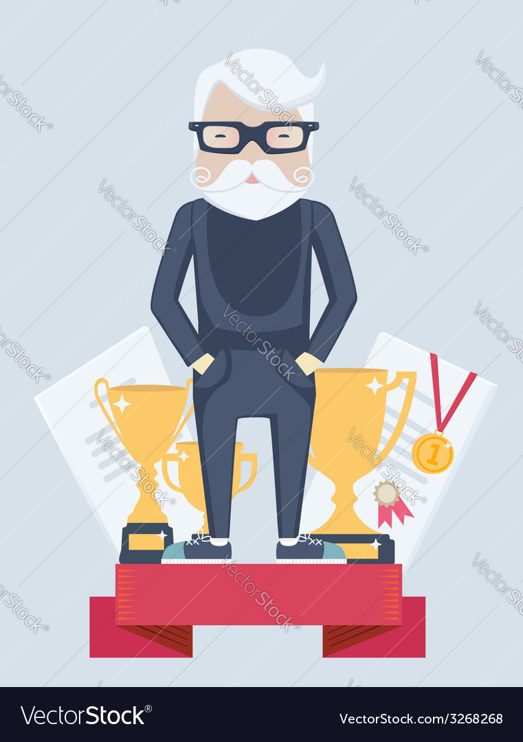 Old man winner in sport vector | Price: 1 Credit (USD $1)
