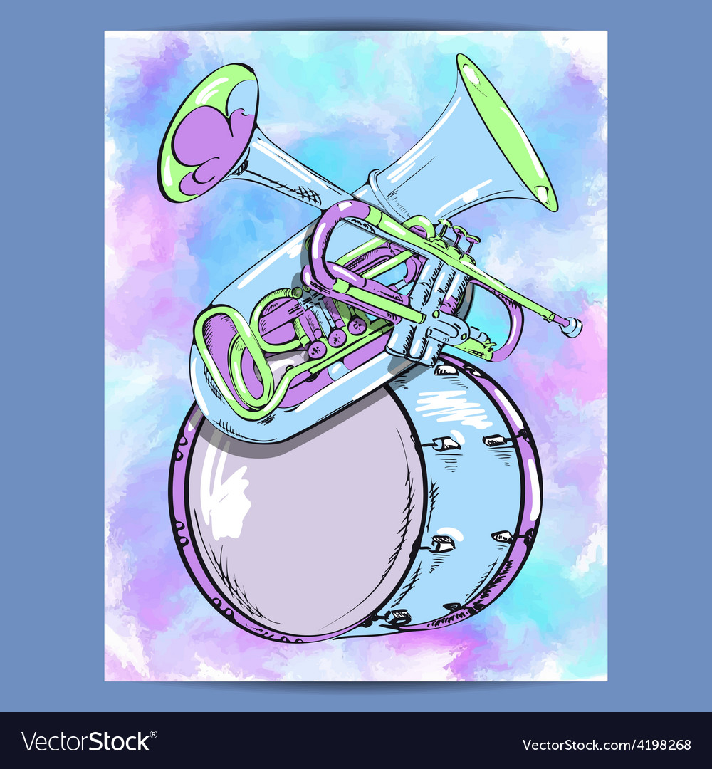 Poster with wind instruments vector | Price: 1 Credit (USD $1)